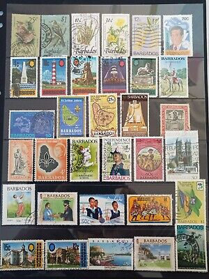 Barbados postage stamps, 63 different beautiful stamps.