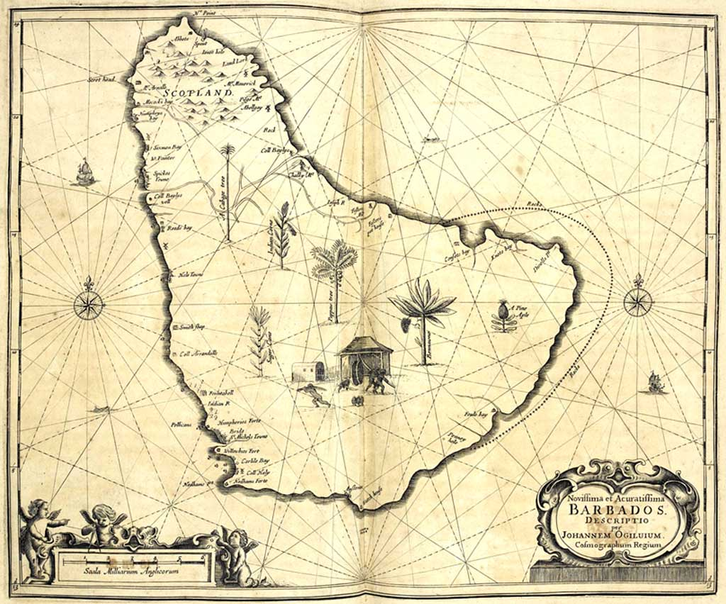 Old Antique Maps of Barbados 1500-1900