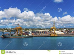 Freighter And Containers In Barbados Editorial Image