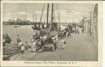 "Barbados SG#229(block of 4) 1930 postcard view ""Shipping Sugar,The Wharf"" to USA"