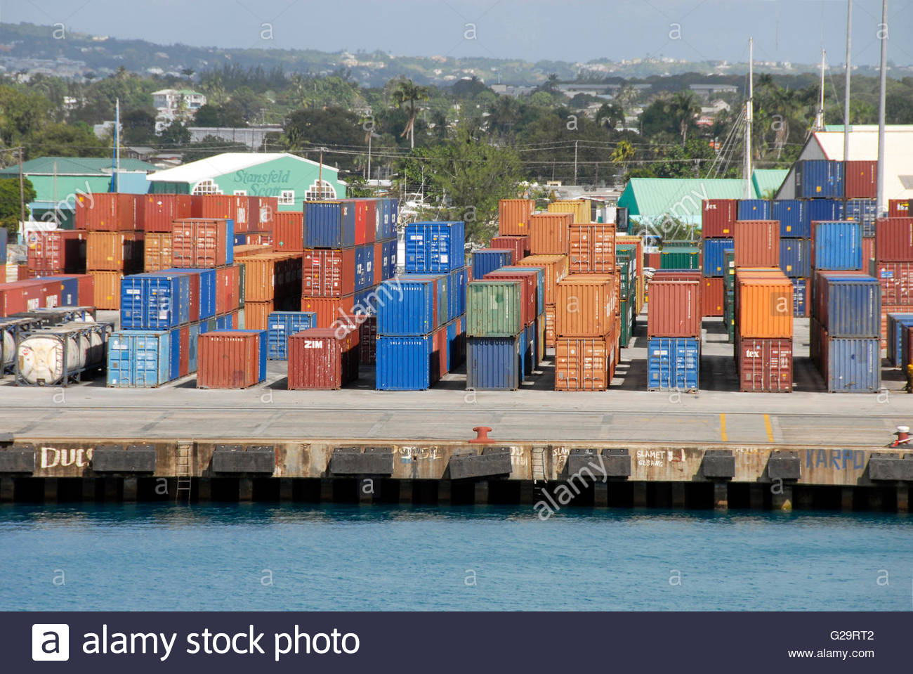 Stock Photo – Shipping containers, Bridgetown, Barbados, Caribbean