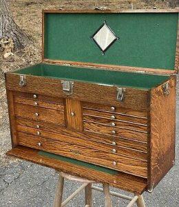 VINTAGE ANTIQUE USA GERSTNER 052 GOLDEN OAK machinist wood  tool chest box