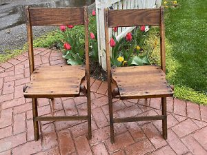 1940s Palmer Snyder USA OAK WOODEN SLAT Folding Chairs Vintage.
